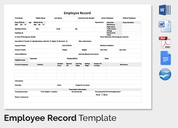 Company Employee Record Template