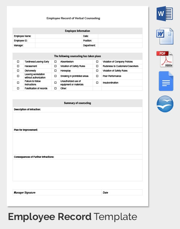 Employee Record Templates 30 Free Word PDF Documents Download – Employee Counseling Form