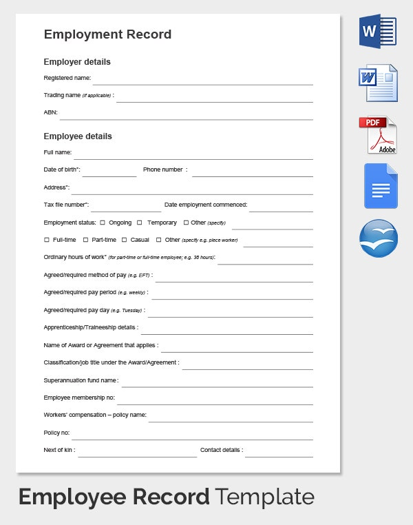 Permanent Employee Record Template