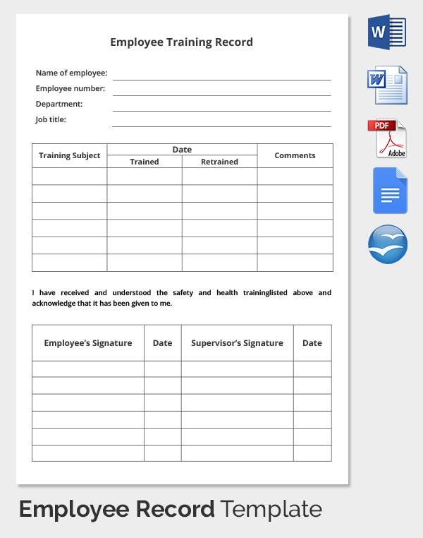 Employee Record Templates 32 Free Word Pdf Documents
