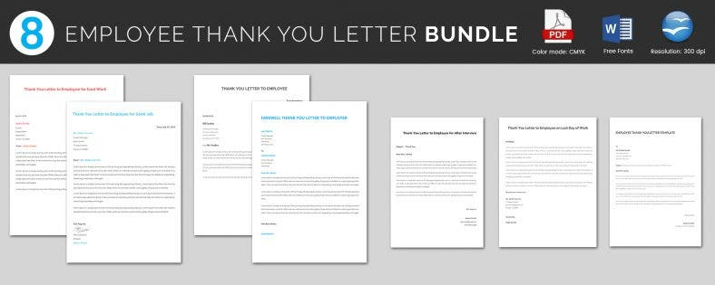 Well Designed Employee Thank You Letter Template Bundle