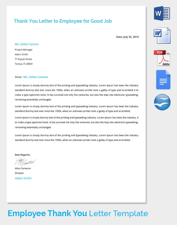 Thank You Letter for Employee Good Job Performance