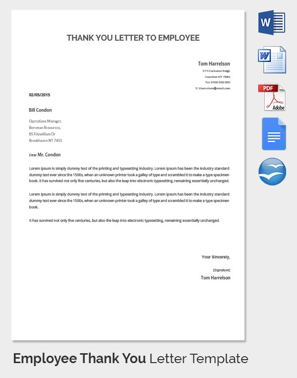 Employee Thank You Letter Template   Free Word Pdf Documents