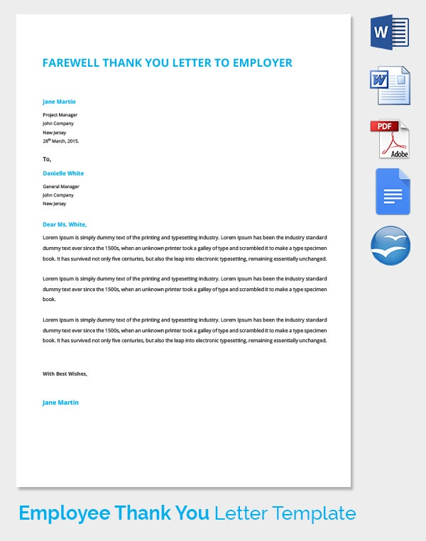 Farewell Thank You Letter Template for Employer