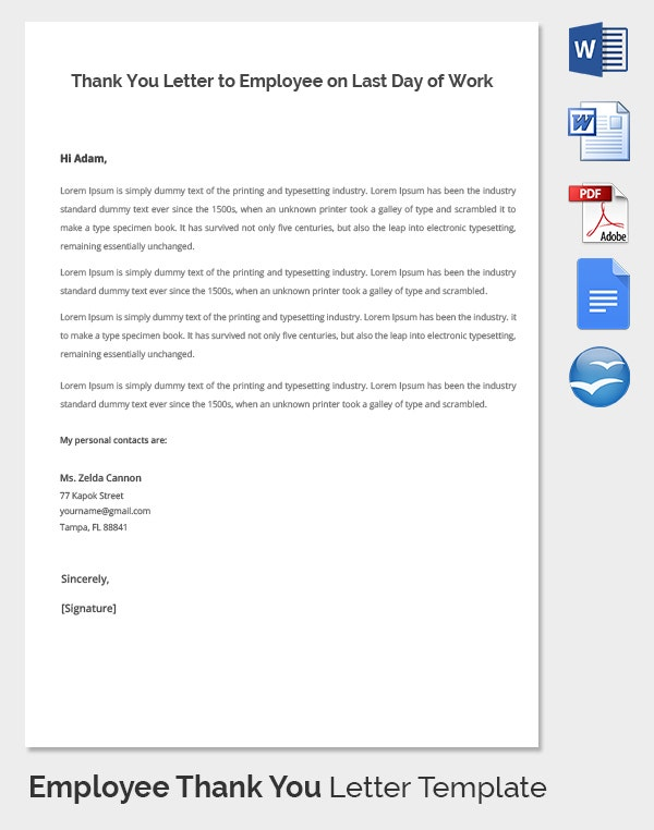 Employee Thank You Letter Template - 20+ Free Word, Pdf, Documents
