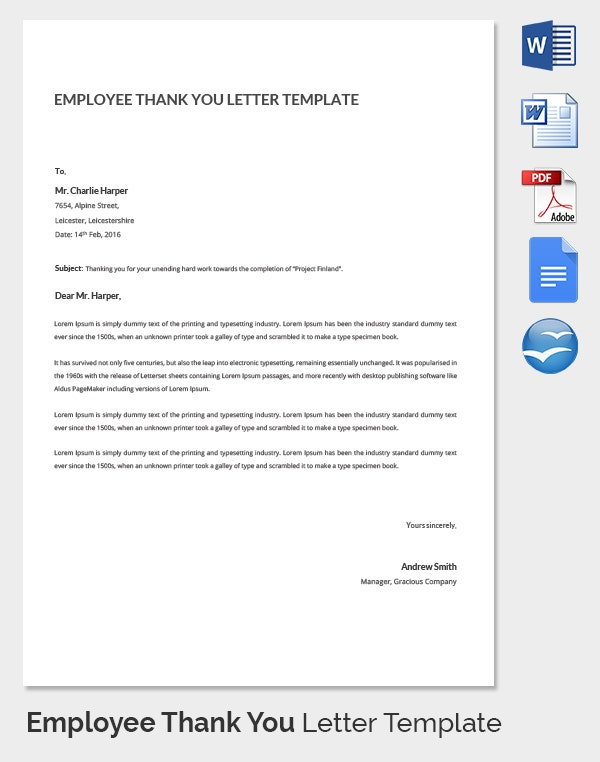 Personal Employee Thank You Letter Template