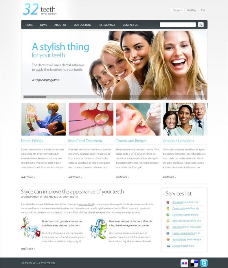 Dentist Website Template with Psd