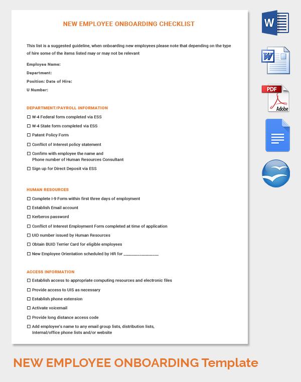 New Employee On-Boarding HR Checklist