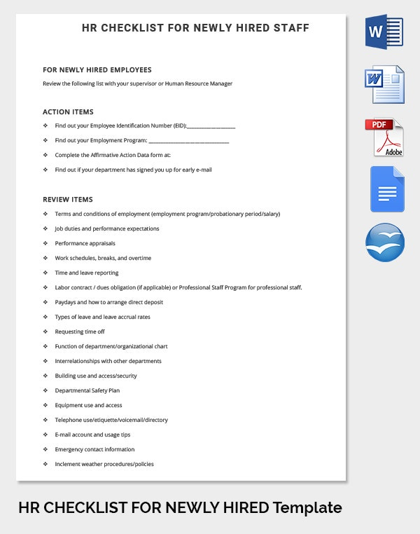 HR Checklist Template for Newly Hired Staff