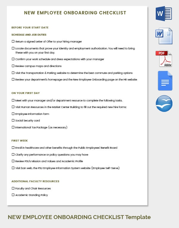 HR Checklist Template Free Download