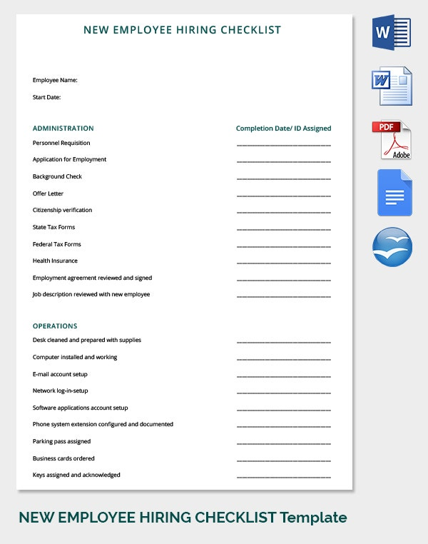 New Employee Record HR Checklist Template