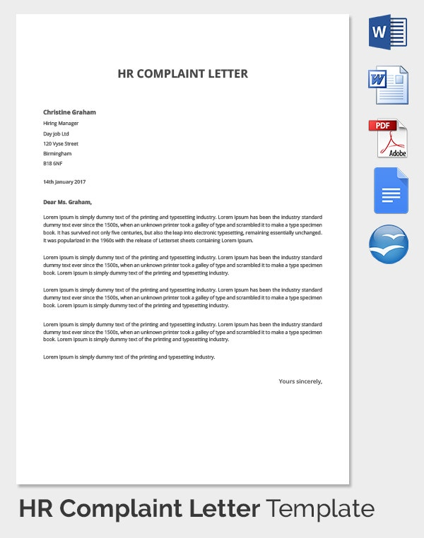 Sample Grievance Letter The Letter Sample Sample Complaint Letter