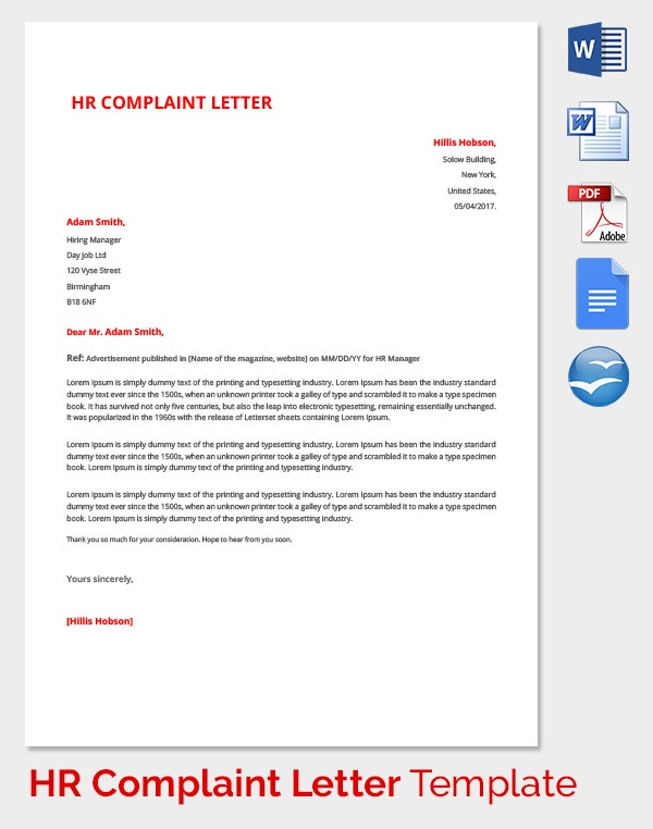 HR Complaint Form To CEO
