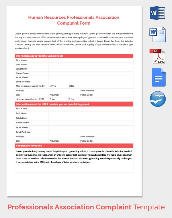 29 hr complaint forms free sample example format for Human resource forms and templates
