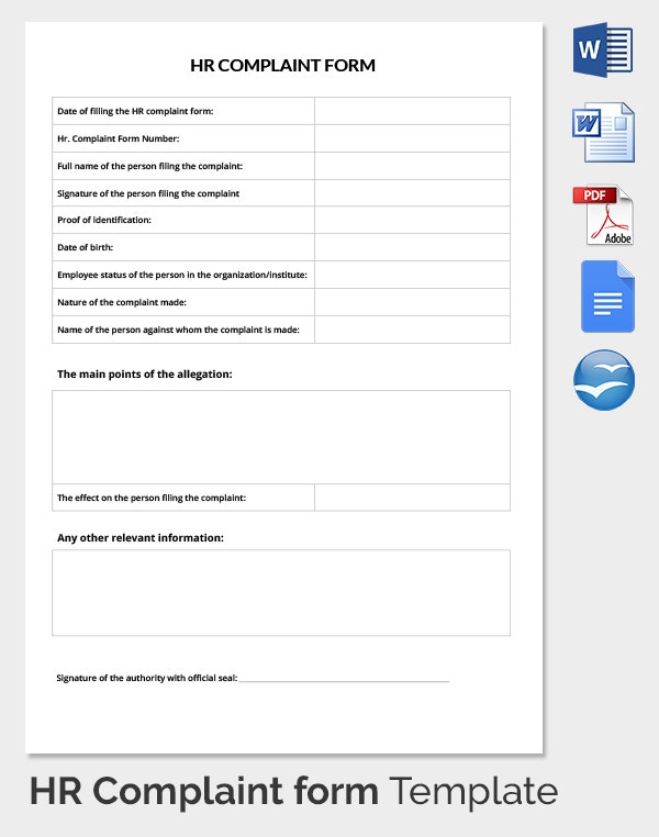Employee Complaint Forms For Ms Word – Customer Complaint Form Examples