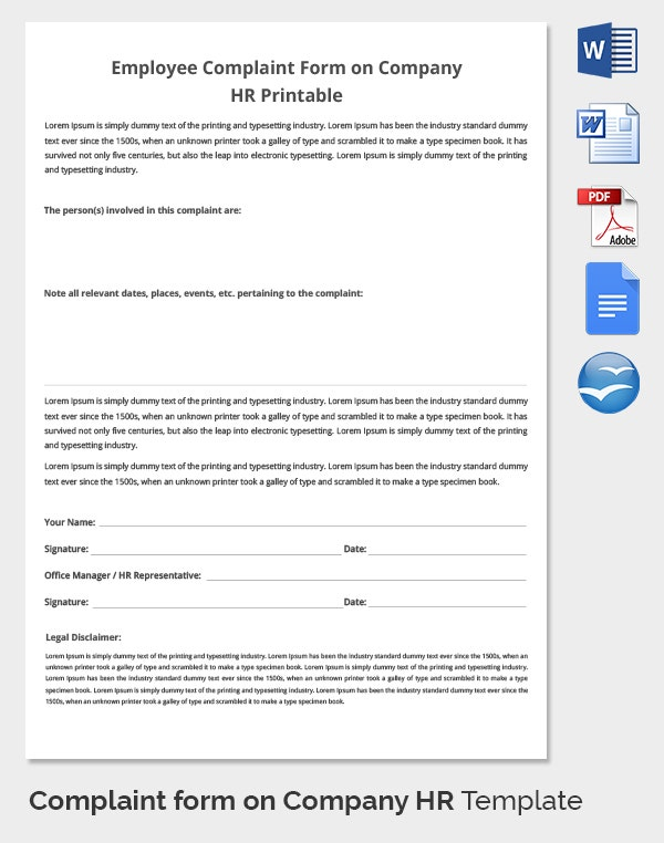 33+ Hr Complaint Forms - Free Sample, Example Format | Free
