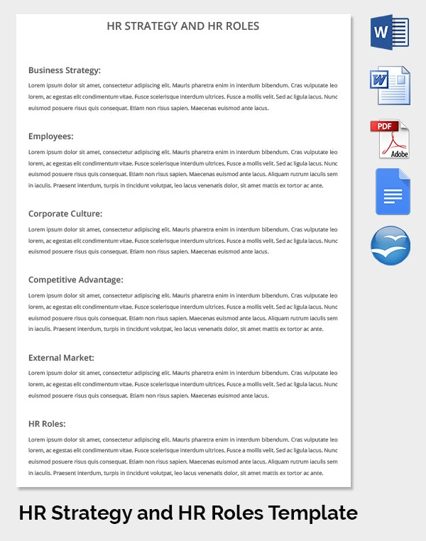 business strategy template of hr manager