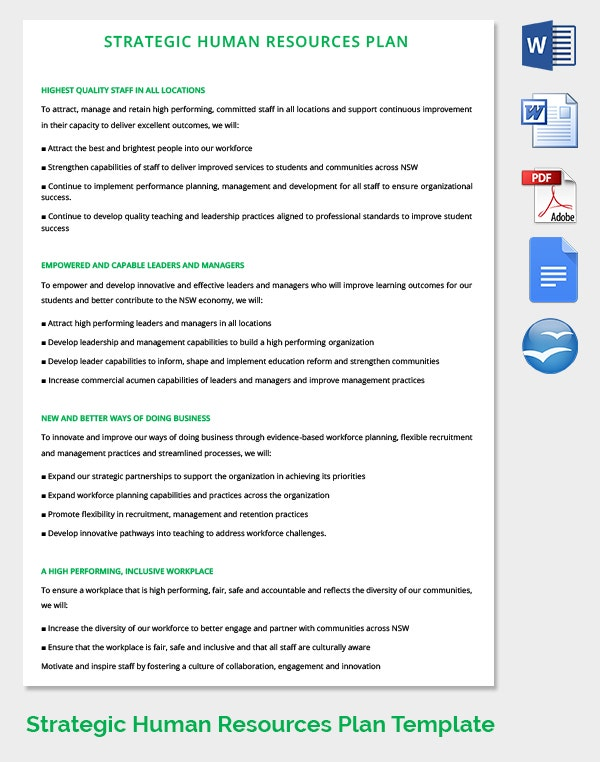 human resources strategic planning template 26 hr strategy templates free sample example format