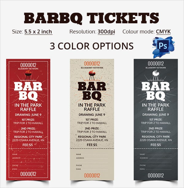 PSD Editable BARBQ Tickets in 3 Color Options