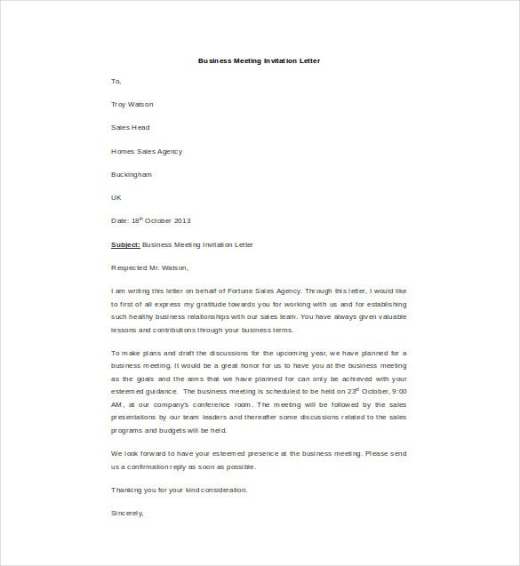 Etonnant Business Meeting Invitation Letter Template