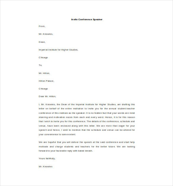 invite conference speaker letter template