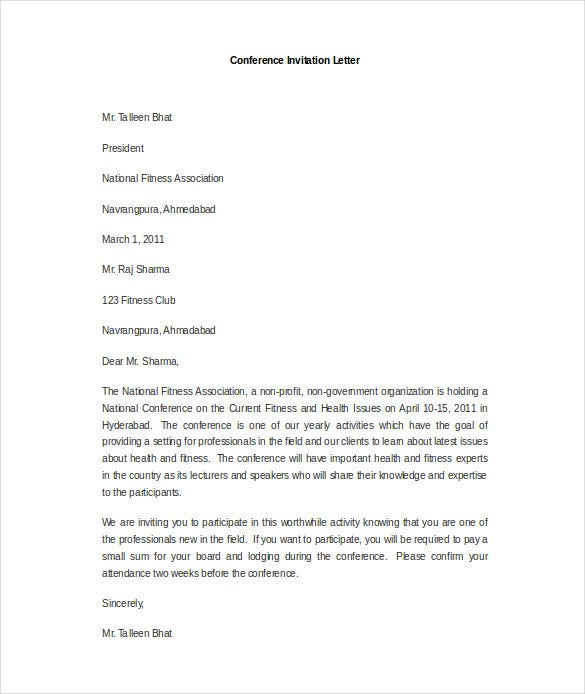 Hr Invitation Letter Template   Free Word Pdf Documents