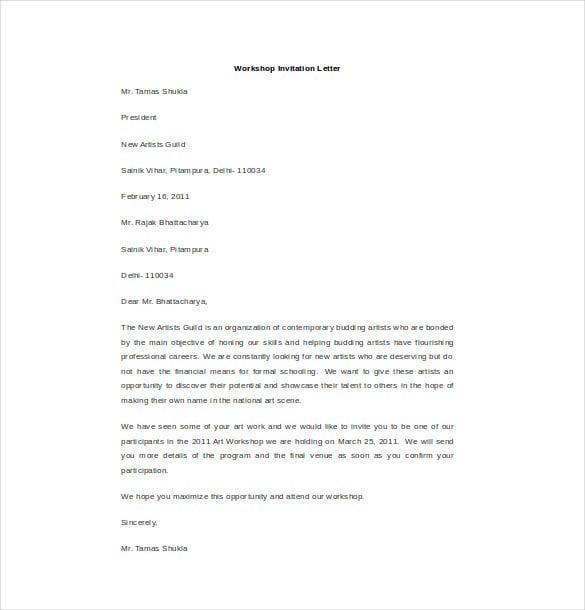 18 Hr Invitation Letter Templates Pdf Doc Free Premium
