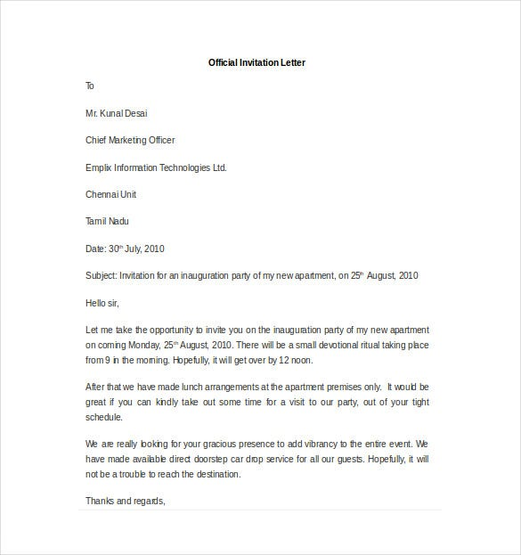 sample invitation letter for inauguration of new office