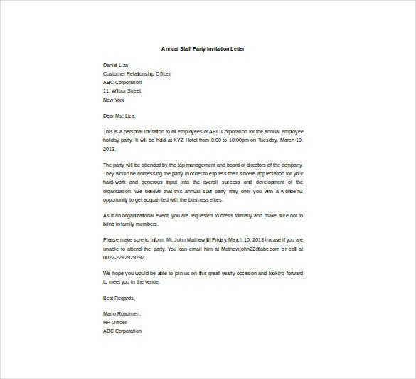 Invitation letter for staff party types of business letters stopboris Images