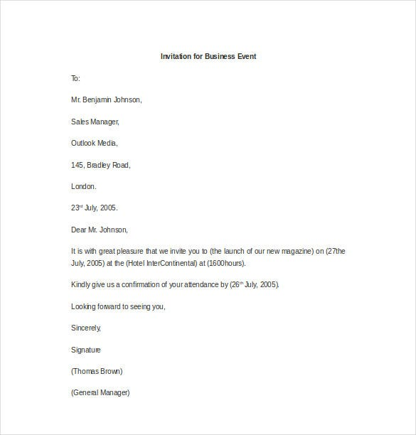 invitation for business event letter template1