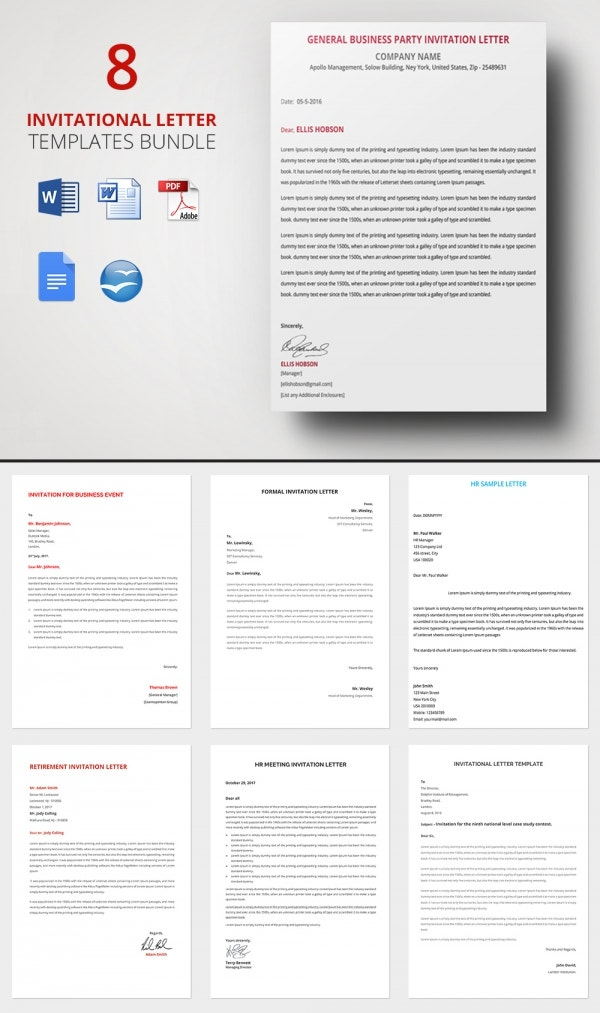 HR Invitation Letter Template 25 Free Word PDF Documents – Event Invitation Letter Template