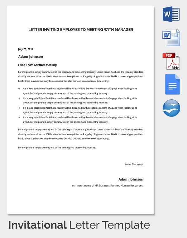 Employee Meeting Invitation Letter With HR Manager