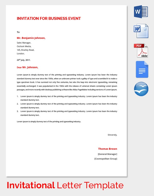 HR Invitation Letter Template 25 Free Word PDF Documents – Business Invitation Letters