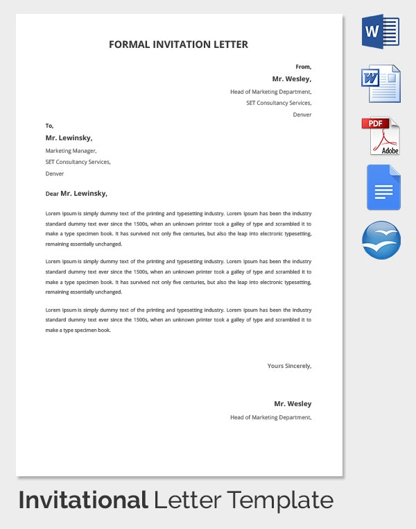 Hr Invitation Letter Template 26 Free Word Pdf