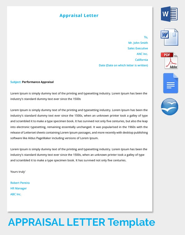 Self Appraisal Letter Template Free Download