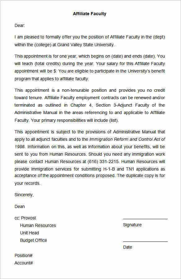 sample affiliate faculty appointment letter1