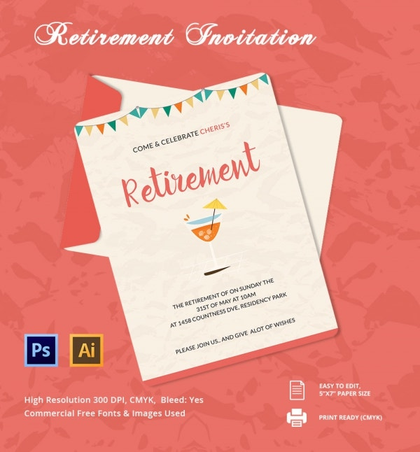 Retirement party invitation template 36 free psd format for Retirement announcement flyer template