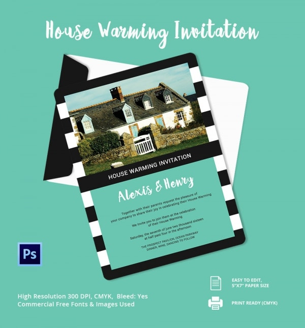 Editable Housewarming Invitation – Blank Calendars 2017