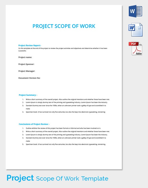 Project Review Work Scope Template