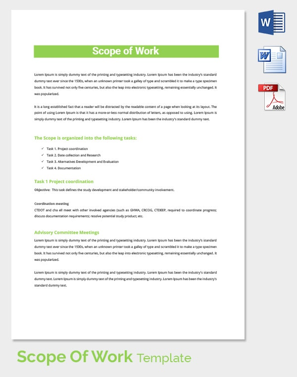 Organized Scope of Work Template