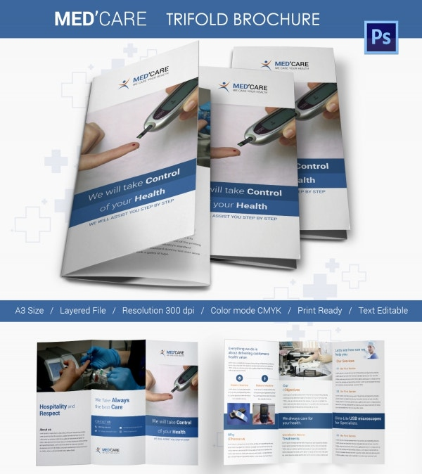 diabetes tri fold mockup brochure template