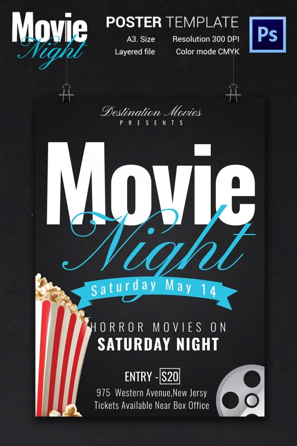 free downloadable poster templates - movie night flyer template 25 free jpg psd format