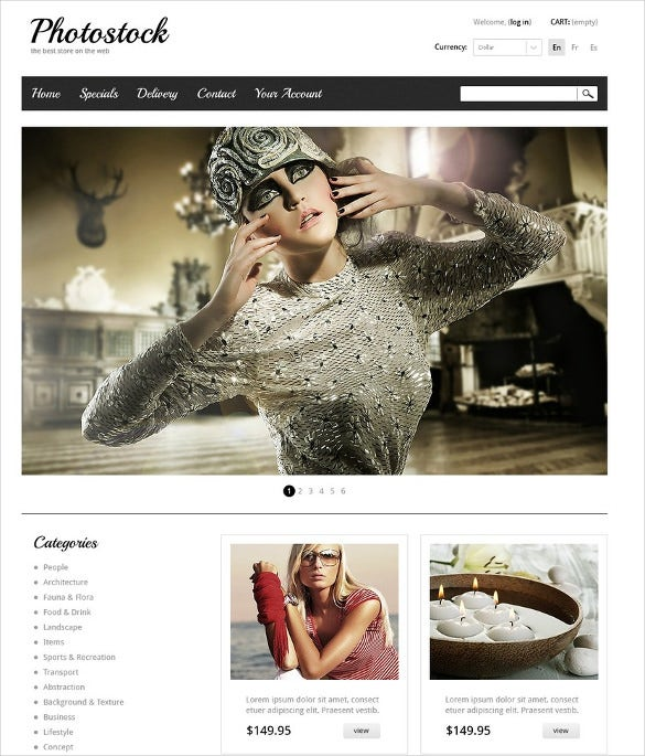 simple white black prestashop theme for photography
