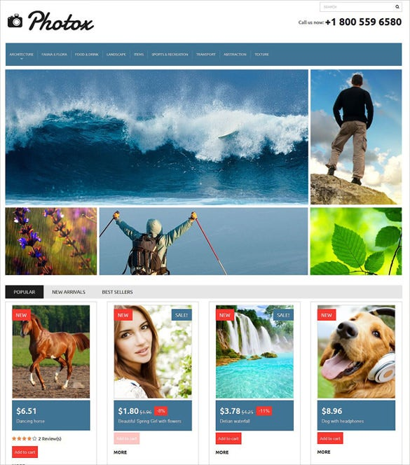 responsive prestashop design for photographers