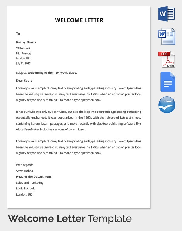 HR Welcoming Letter to CEO