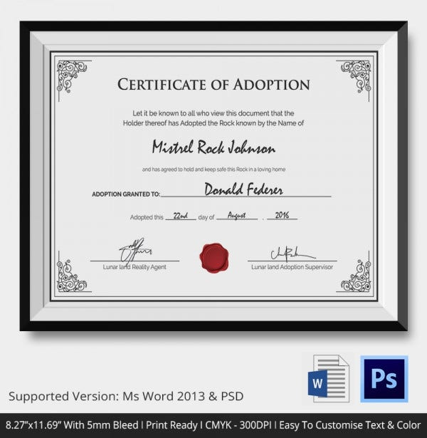Premium Printable Adoption Certificate Template