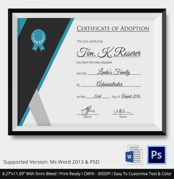 Certification of Adoption