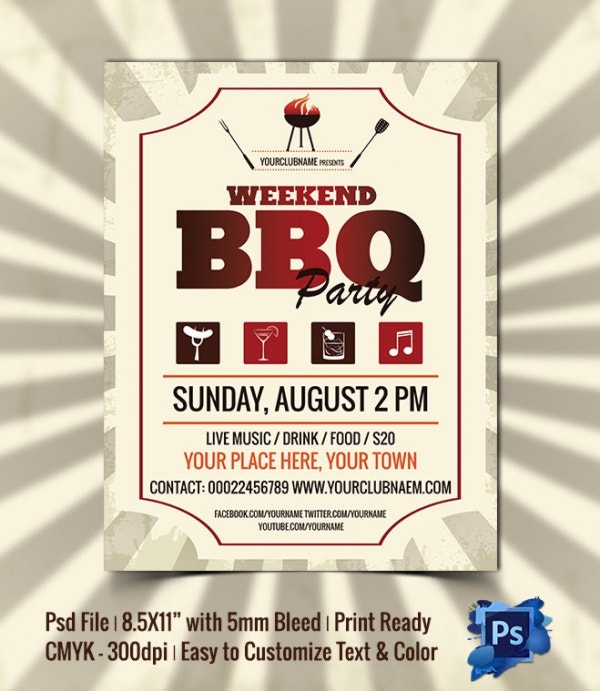 Weekend BBQ Party Flyer Template