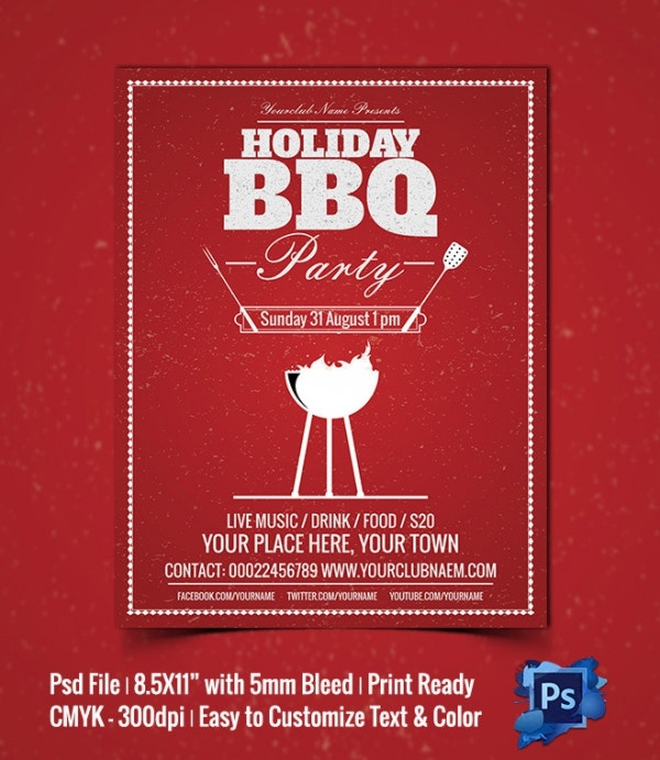 PSD Holiday BBQ Party Flyer Template