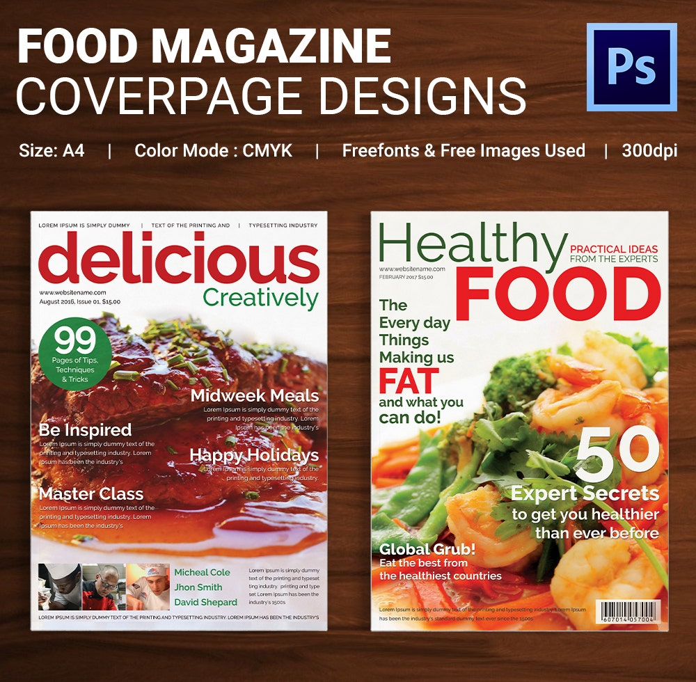 Food Magazine Cover Page Template